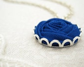 Blue Bridesmaid Necklace in Nightfall - Rose Necklace - Something Blue Fabric Flower