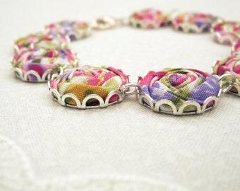 Summer Bouquet Bracelet - Jewel Pink, Gem Purple, Green & Gold Fabric Flowers - Festival
