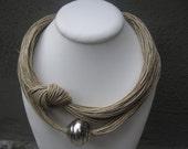 Necklace Linen Eco-Friendly Thread Knots Metal Silver Xl Pearl  Mediterranean Style handmade