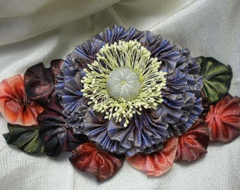 Colorful Foliage Ribbon Flower Millinery Applique