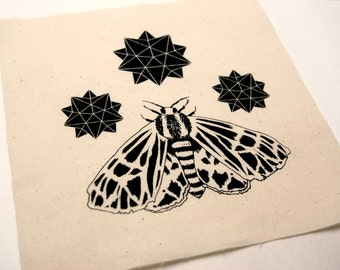 Tiger Moth and Stars Cream Sew On Punk Patch