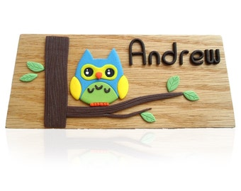 Personalized Hand-crafted Wood Pencils/Pens Holder with Owl - Desktop Organizer - Solid Oak - Made to Order