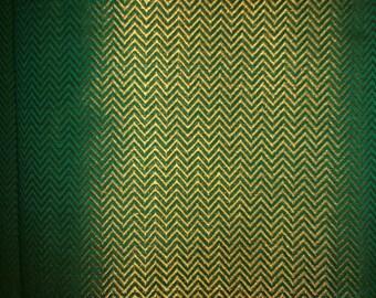 Fat quarter of dark green with Gold Silk Brocade in a chevron pattern Pattern