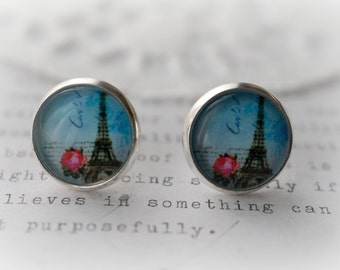 Round Glass Blue with Red Rose Eiffel Tower Stud Earrings