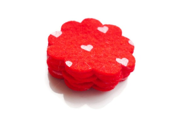 Felt flowers Die cut felt flowers Red flowers Set of 6 Size - 1.5inch eco felt valentines day felt shapes