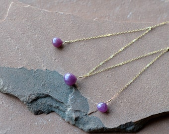 Pink Sapphire Necklace, Delicate Gold Chain