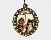 Umbrella Cat Necklace, Cat Jewelry, Oval Pendant