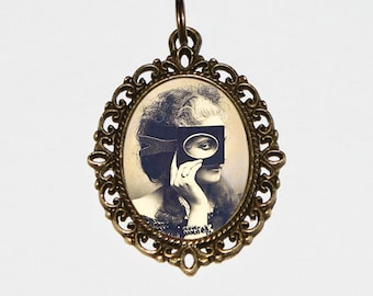 Countess of Castiglione Necklace, Mask, Pinup, Burlesque Jewelry, Victorian, Masked Woman, Virginia Oldoini, Oval Pendant