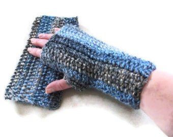 Gloves, Fingerless Mittens, Basic Design. Hand warmers Crocheted in Blue, Grey & Brown. .Accessories.Men, Women, Winter Warmers,