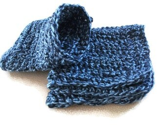 Crochet Cotton Gift/Wash Set in Blue Marl. Pamper Gift Set for Men or Women, Bath or Shower Set, Bathroom Accessories,