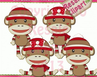 Sock Monkey 2 Clipart (Digital Download)