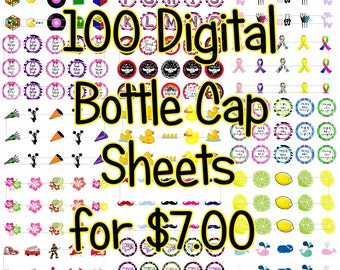 SALE 5.00 Limited Time Instant Download of 100 Digital Bottle Cap Image Sheets 1 Inch size 4x6 (Digital Zip File Download)