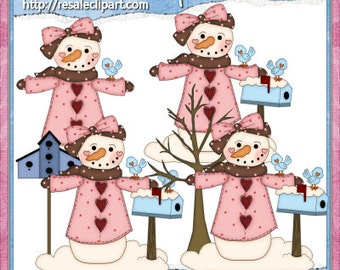 Prim Snowman Pink Clipart (Digital Download)