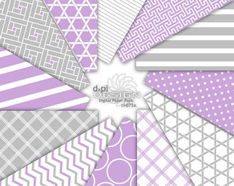 Purple and Gray Digital Paper and Printable Backgrounds - Digital Scrapbook Paper in modern designs - Instant Download (DP075K)