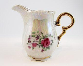 Vintage Lusterware Porcelain Creamer Pitcher Roses