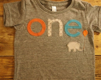 Chevron Elephant balloon Birthday shirt orange turquoise grey polka dot Customize Boys Girls Organic Blend Birthday Tee first birthday shirt