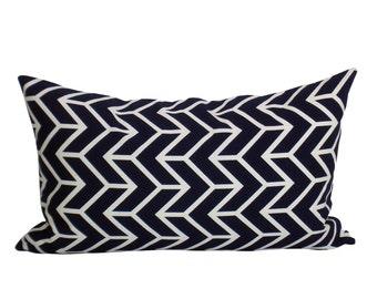 Schumacher Chevron Print lumbar pillow cover in Navy