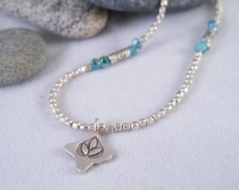 Lotus Symbol Necklace   Silver-plated beads  Blue Chinese Crystals   Lotus Pendant  Yoga Gift  Gift for Her  Gift for Mom  Bridesmaid Gift