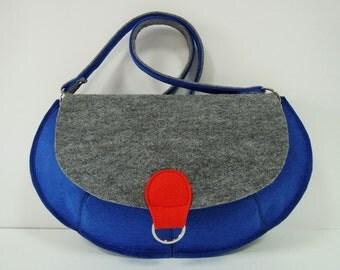 Lovely handmade fashionable extraordinary Medium Size Felt Bag - Grey and Blue