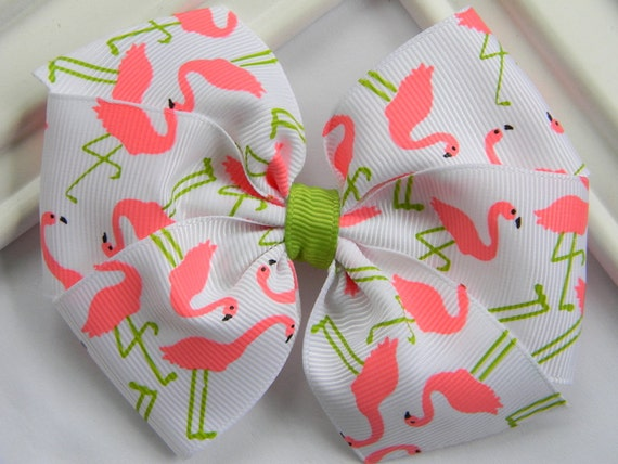Summer Hair Bow - Pink Flamingo Pinwheel Hair Bow