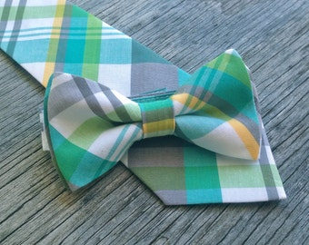 Plaid Neck Tie - Green and Gray Tie - Yellow and Gray Tie - Groomsmen Tie - Ties for Boys - Ties for Wedding - Green and Yellow Tie