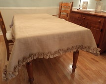 Burlap Tablecloth with Ruffles