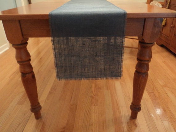 Navy blue burlap table runner 12 wide navy blue by for 12 wide table