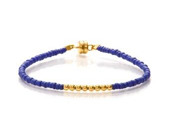 Delicate Matt Blue & Small Gold Beaded Friendship Bracelet