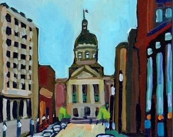 Indianapolis, Indiana State Captiol Building, Original Painting, Cityscape