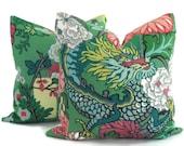 Pair of Jade Schumacher Chiang Mai Dragon Decorative Pillow Covers, Toss Pillow, Accent Pillow, Throw Pillow, Pillow sham
