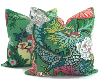 Pair of Jade Schumacher Chiang Mai Dragon Decorative Pillow Covers, Toss Pillow, Accent Pillow, Throw Pillow, Pillow sham