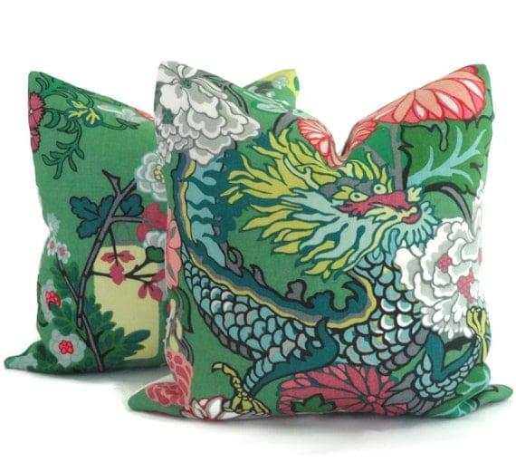 Jade Decorative Pillows : Pair of Jade Schumacher Chiang Mai Dragon Decorative Pillow