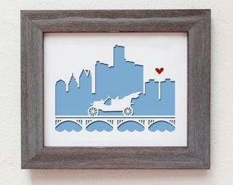 Detroit, Michigan.  Personalized gift, wedding gift