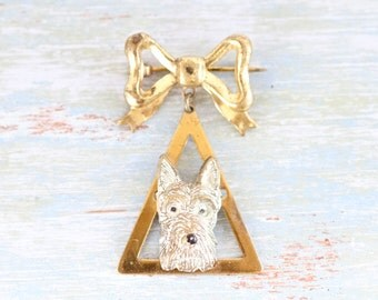 Fox Terrier Lapel Pin - Antique Pooch Brooch - Pet Dog