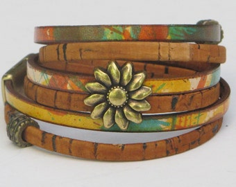 Leather Cork Wrap Bracelet, Whirly Wrap, Multi Colored Leather, Cork, choose antique brass or silver sunflower, secure magnet, easy on