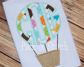 Monogram Hot Air Balloon Basket Applique Design Machine Embroidery INSTANT DOWNLOAD