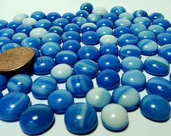 Kiln Formed Streaked Blue and White Glass Bubbles100 Pieces (B641)