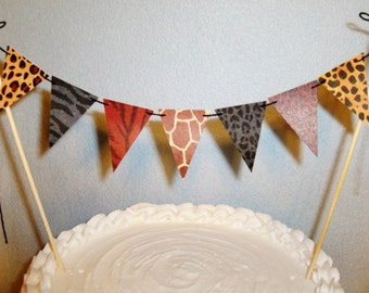 Animal Prints Cake Topper Garland Safari Bunting Tribal Party Banner African theme