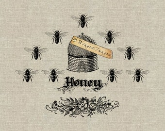 Vintage Beehive and Honey Bees Instant Download Digital Image No.172 Iron-On Transfer to Fabric (burlap, linen) Paper Prints (cards, tags)