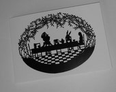 Alice and The Tea Party printed A6 Card from an original paper cut