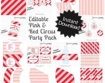 Editable Pink and Red Vintage Circus Party Pack & Invite - Instant Download, Printable Templates - Fill in Text and Print at home .. svcpr01