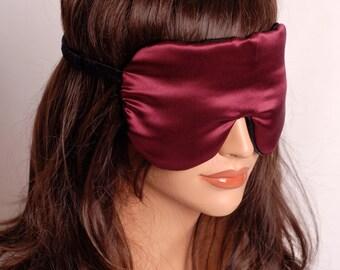 Silk Eye Mask Sleep Mask, Wine & Black Charmeuse, Fully Adjustable, Padded, Light Blocking, For Sensitive Eyes, and Anti-Aging