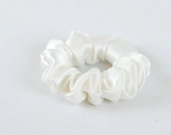 Silk Hair Scrunchie, Soft White Charmeuse, Small, Regular, and Large Sizes