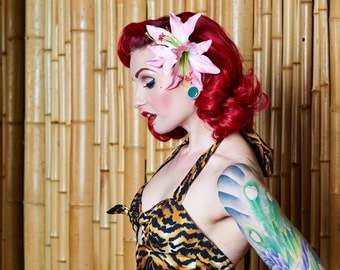 Rockabilly Double Pink Lily Hair Flower