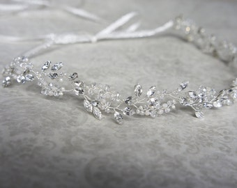 Crystal Headband, Crystal Halo, Crystal Hair Wreath, Crystal Hair Vine, Crystal Hair Wrap, Bridal Headband, Boho Halo, Rhinestone Headband