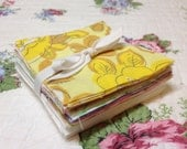 """Precut Charm Pack of 80 - 3 1/2"""" squares from Vintage Sheets  40 white 40 floral"""
