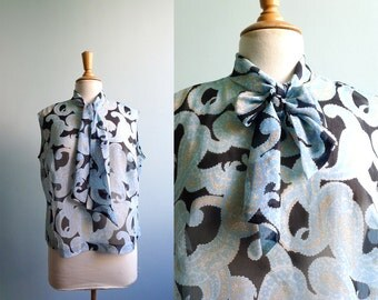 60s black blue paisley sleeveless bow tie neck sheer blouse L/XL