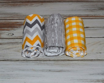 Gender Neutral Burp Cloths - Boutique Burp Cloth Set in Gray and Yellow