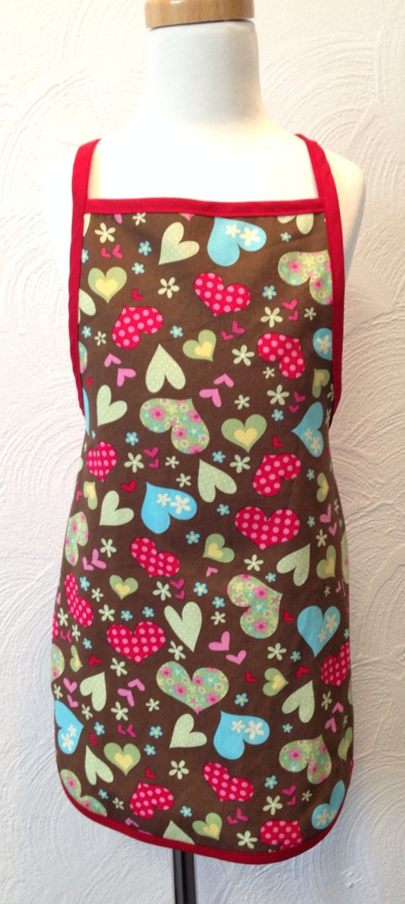 Personalized Kids apron with hearts slips around neck has round bottom
