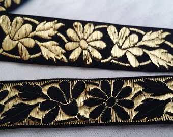 "3/4"" Black and Metallic Gold  Vintage French Brocade Jacquard Ribbon Trim with florals 1075-01"